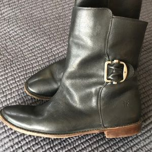 Frye Paige ankle riding boots black leather buckle